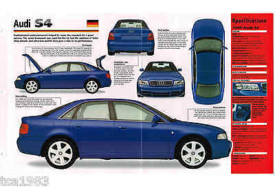 1998 / 1999 AUDI S4 / S-4 SPEC SHEET / Brochure / Pamphlet / Photo's