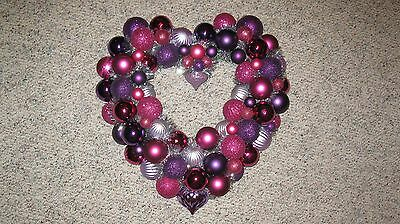 Valentines Day Heart Ornament Wreath Pink Purple Silver Decoration