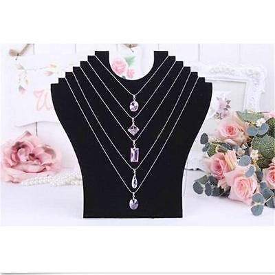 Necklace Bust Jewelry Pendant Display Holder Stand Neck Velvet Easel Black US BB