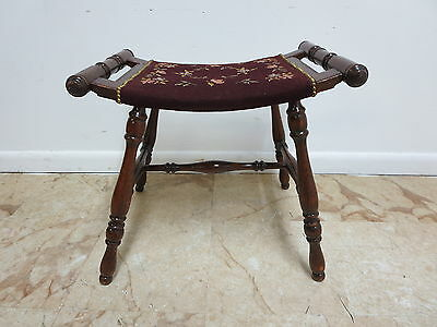 Antique Oak Carved Needle Point U Bench Vanity Foot Stool Ottoman Chair Seat