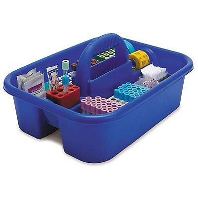 Large Phlebotomy Tote Blue  With bin cups, tube racks, and red tube holder 1 ea