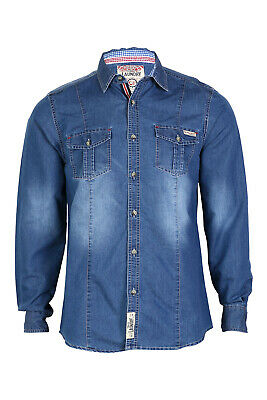 Mens Denim Shirt Tokyo Laundry Leo New Collared Long Sleeved Vintage Casual Top