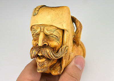 Stunning Meerschaum Pipe Finely Hand Carved Turk/Arab with Mustache 1860-1910