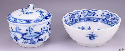 Meissen Blue Onion Bowl and Meissen Style Covered Sugar Dish
