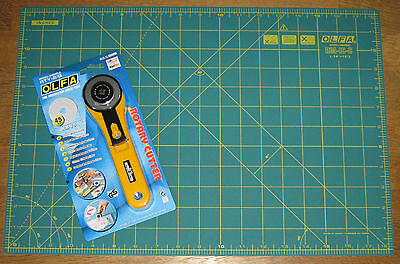 "OLFA Rotary Cutter RTY-2/G & Cutting Mat RM-IC-C 12"" X 18"" Fabric Leather Paper"