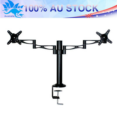 "Super 10-27"" 2 Arm Holds Dual LCD TV LED Screen Monitor Stand Bracket Desk Mount"