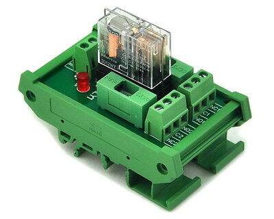 DIN Rail Mount Fused DPDT 5A Power Relay Interface Module, G2R-2 12V DC Relay.