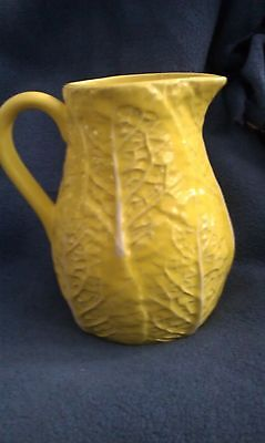 SECLA MAJOLICA YELLOW CERAMIC CABBAGE LEAF PITCHER - MADE IN PORTUGAL
