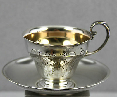Antique German Silver Plated Cup & Saucer Engraved Otto & Dated 1901 Vmfm Mark