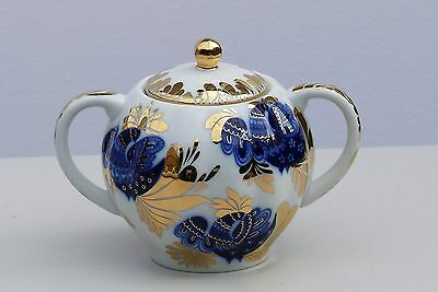 Sugar bowl GOLDEN GARDEN, Cobalt and 22K gold, Lomonosov Porcelain, Russia