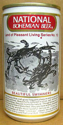 NATIONAL BOHEMIAN BEER Can No10 BEAUTIFUL SWIMMERS CRABS Baltimore MARYLAND 1/1+