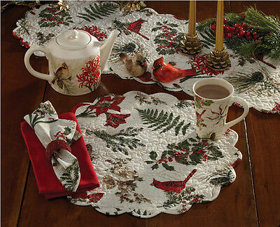 Nature Sings ~ Christmas Cardinals & Holly Cotton Dinner Napkins Set ~ Set/4