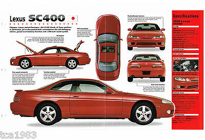 1997 / 1998 LEXUS SC400 SPEC SHEET / Brochure / Pamphlet / Catalag