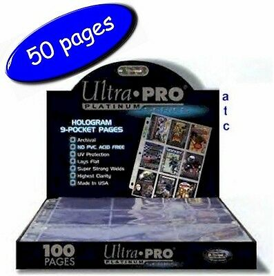 Ultra-Pro 9 Pocket Pages - Platinum Series - Multi-Hole - Box/Pack Of 50 Pages