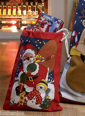 Small Fabric Christmas Santa Toy Sack - Gift Bag, 100% cotton, 29cm h. x 23cm w.