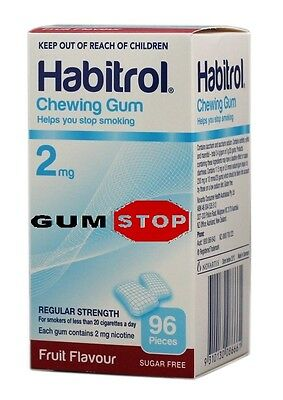 Habitrol Nicotine Gum 2mg Fruit Flavor, 96 Pieces  FRESH