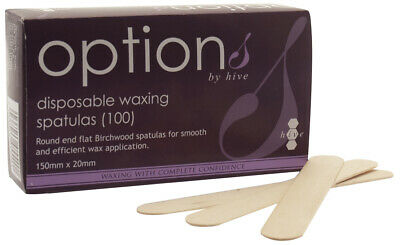 Hive Options Waxing Tool Disposable Wooden Spatulas Wax (100 Per Pack)