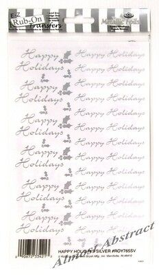 Christmas Happy Holidays in Silver E-Z Rub-On Transfers Sheet (Decal) ~ New