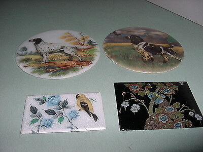 Enamel Plaques Of Two Hunting Dogs, A Peacock And A Bird