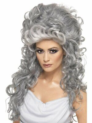 Grey Medeia Witch Beehive Wig Adult Womens Smiffys Halloween Fancy Dress Costume