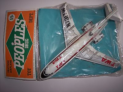 Mint In Pack TWA Boeing 727 Tin Friction Airplane 60s Made In Japan and H.K.