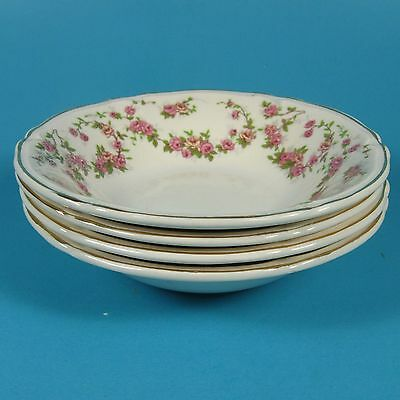 Edwin Knowles LORRAINE Dessert Fruit Bowls Set of 4 Bowl USA Pink Flowers