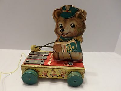 Vintage Fisher Price Tiny Teddy Zilo Pull Toy # 635