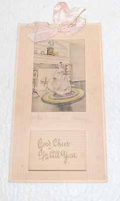 21. ANTIQUE CALENDAR WITH FULL PAD 1918 / AT THE FIRESIDE ART BY FARINI