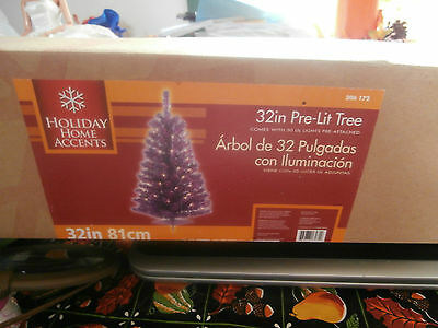 "Pre Lite Artificial  Purple 32"" Christmas Tree  IOB Works"