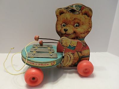 Vintage Fisher Price Teddy Bear Zilo Pull Toy