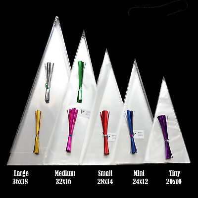 CLEAR Cone Bags FOOD SAFE for Sweet Candy Favour Colour Tie Free Postage free*