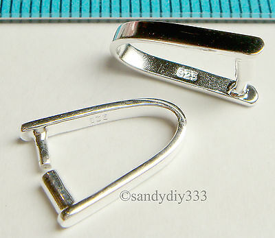1x STERLING SILVER BRIGHT PENDANT BAIL CLASP CONNECTOR 13.5mm N373