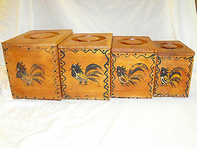 Vintage Wooden Flour, Sugar, Coffee, Tea Canisters, S & P Shakers (1950's)