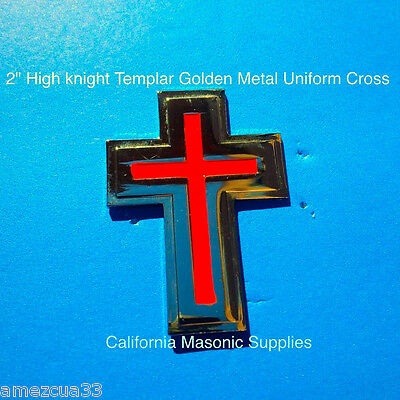"""Templar Sir Knight Golden Metal  With Red 2"""" Uniform and Hat  Cross York Rite"""