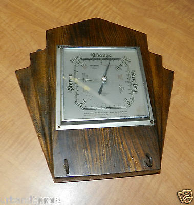 8185/ Antique ART DECO Wooden Weather BAROMETER / Meter ~ Vintage Instrument