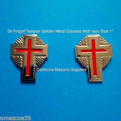 sleeves and collar Sir Knight Templar Golden Crosses With rays {one pair} York R
