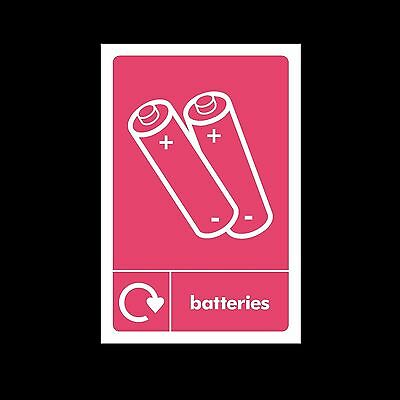 Batteries Waste Recycling - Plastic Sign or Sticker - All Sizes/Materials