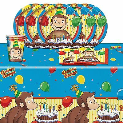 Curious George Children's Birthday Party Tableware Pack Kit For 16
