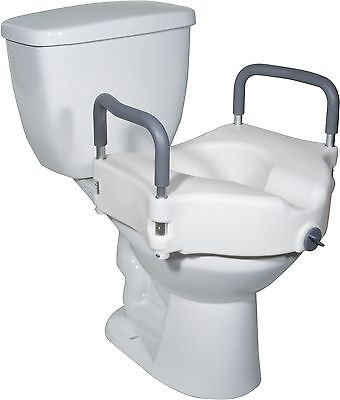 Drive Medical 2 in 1 Locking Elevated Toilet Seat with Tool Free Removable Arms,