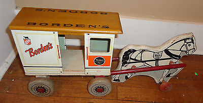 fine old Borden Milk Wagon tin lithographed wood horse drawn pull cart toy
