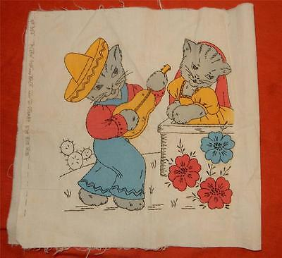 Vogart Serenading Cats Tinted Embroidery Pillow Top Panel - Ready to Assemble!