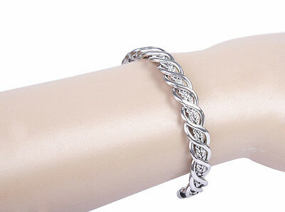 Women Lady Silver Copper Alloy Magnetic Therapy Energy Power Magic Bracelet