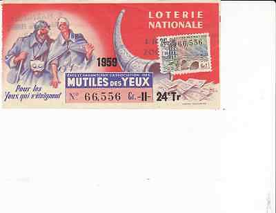 "Billet Loterie Nationale ""Mutiles Des Yeux"" 1959 Timbre  Pont Royal"