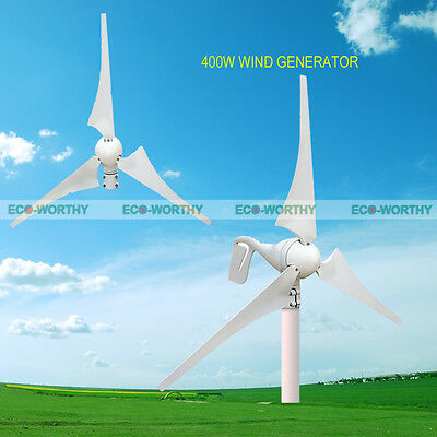 400W Wind Turbine Generator 3 Blades Hybrid Controller Home Charger Breeze White