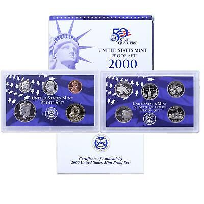 2000 S Proof Set Original Box & COA 10 Coins CN-Clad Sacagawea Dollar US Mint