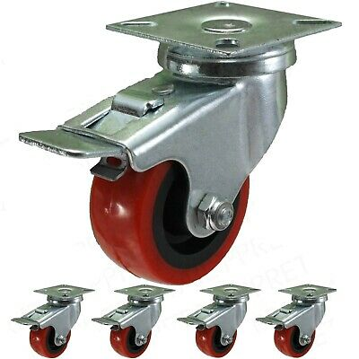 "4x BRAKED RED PU CASTOR WHEELS 2""/50mm Small Strong Trolley/Dolly Caster 140Kg"