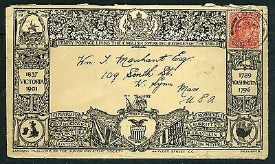 GB #128 on Mulready-type Jr. Philatelic Society Commemorative Cover from 1908