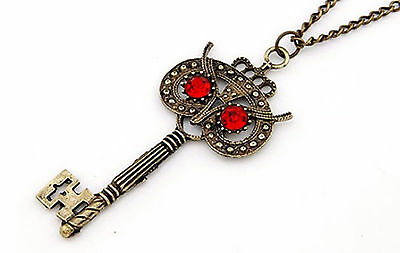N1138 New Red Crystal Plated Long Chain Sweater Necklace Owl Key Shape Pendant