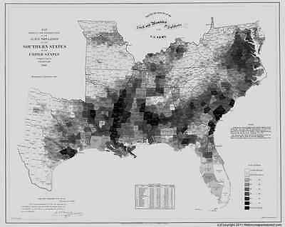 SOUTHERN STATES SLAVE MAP 1861 MARION MARSHALL MASON McDOWELL MERCER COUNTY WV