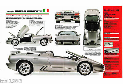 LAMBORGHINI DIABLO ROADSTER SPEC SHEET / Brochure: 1995,1996,1997